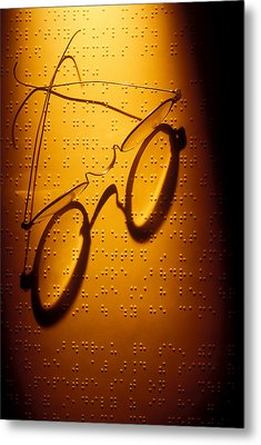 Old Glasses On Braille  Metal Print by Garry Gay