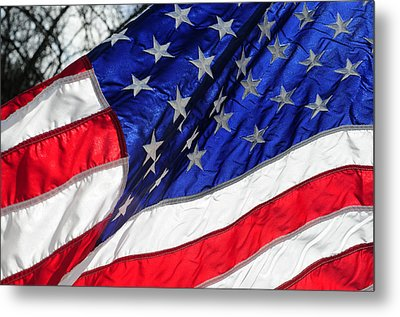 Old Glory Still Waves Metal Print by Wanda Brandon