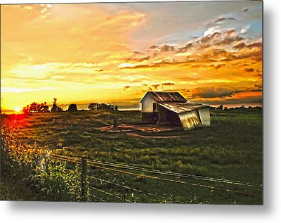 Old Horse Shed At Sundown Metal Print by Randall Branham