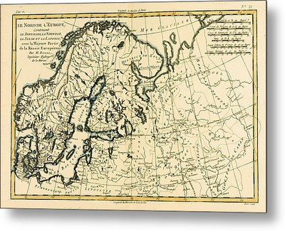 Old Map Of Northern Europe Metal Print by Guillaume Raynal