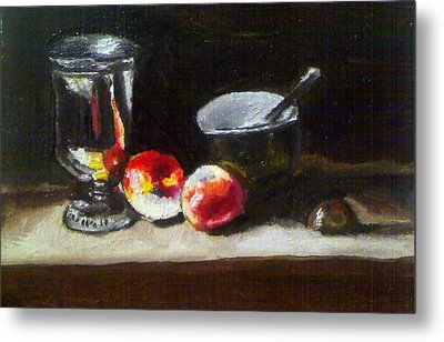Old Master Still Life Apples And Bowl Metal Print by Dawn marie  Nabong