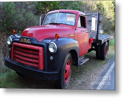 Old Nostalgic American Gmc Flatbed Truck . 7d9821 Metal Print by Wingsdomain Art and Photography