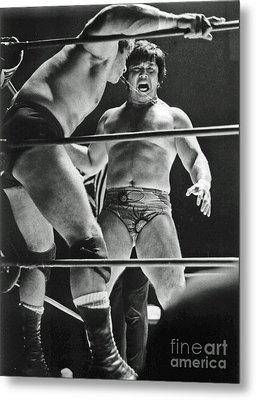 Old School Wrestling Karate Chop On Don Muraco By Dean Ho Metal Print by Jim Fitzpatrick