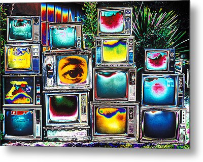 Old Tv's Abstract Metal Print by Garry Gay