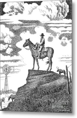Old-west-art-cowboy Metal Print by Gordon Punt