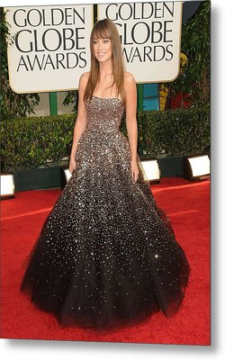 Olivia Wilde Wearing A Marchesa Gown Metal Print by Everett