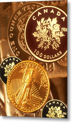 One Troy Ounce Us And Canadian Gold Coins Metal Print by Lyle Leduc