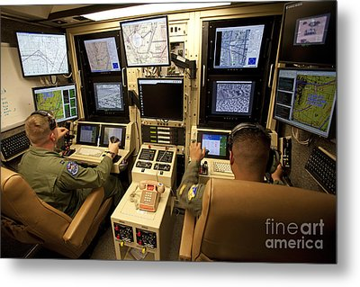 Operators Control Uavs From A Ground Metal Print by HIGH-G Productions