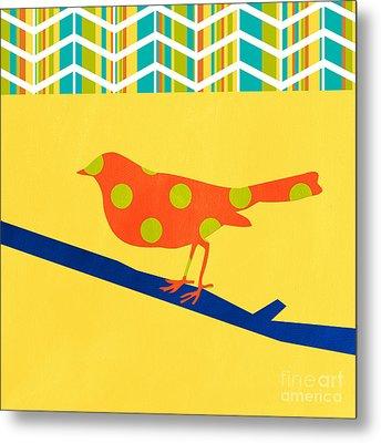 Orange Polka Dot Bird Metal Print by Linda Woods