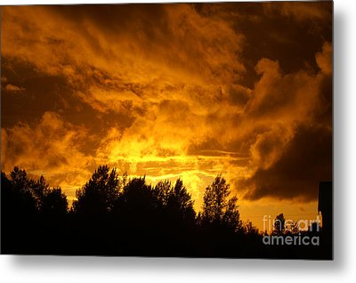 Orange Stormy Skies Metal Print by Randy Harris