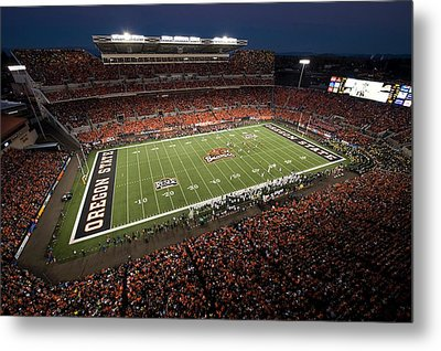 Oregon State Night Game At Reser Stadium Metal Print by Oregon State University