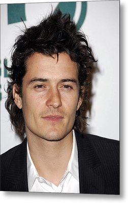 Orlando Bloom At Arrivals For Global Metal Print by Everett