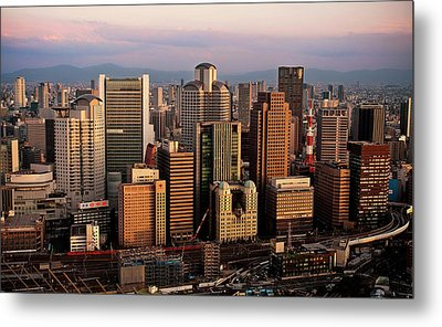 Osaka City Downtown Umeda Metal Print by Paul Hillier Photography (www.paulhillier.com)