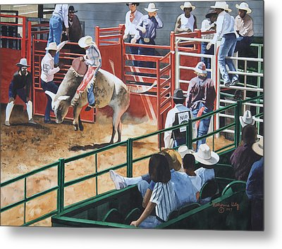 Out Of The Chute Metal Print by Katherine Uitz