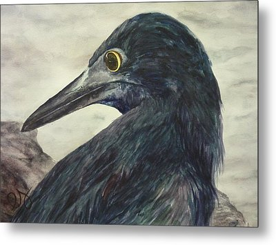 Over-the-shoulder Glance Metal Print by Estephy Sabin Figueroa