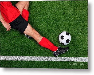 Overhead Football Player Sliding Metal Print by Richard Thomas