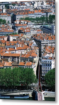 Overhead Of City, Lyon, Rhone-alpes, France, Europe Metal Print by Glenn Van Der Knijff