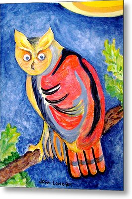 Owl With Attitude Metal Print by Joan Landry