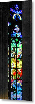 Painted Glass - Alfons Mucha  - St. Vitus Cathedral Prague Metal Print by Christine Till