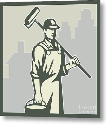 Painter Paint Roller Worker House Retro Metal Print by Aloysius Patrimonio