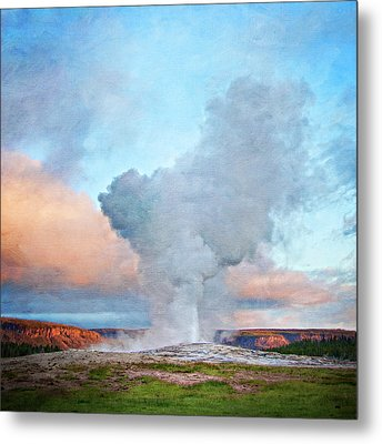 Painterly Old Faithful, Yellowstone National Park Metal Print by Trina Dopp Photography