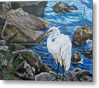 Painting  Sharon's Heron On The Rocks Metal Print by Judy Via-Wolff