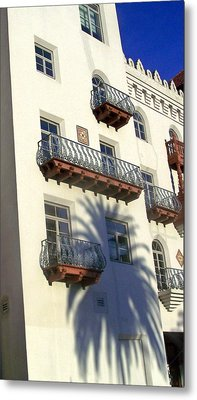 Palm Tree Shadow On The Wall Metal Print by Patricia Taylor