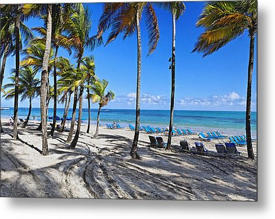 Palm Trees Shaded Beach Metal Print by George Oze