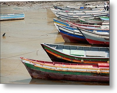 Panama, Panama City, Fishing Boats On Coastline At Low Tide Metal Print by DreamPictures