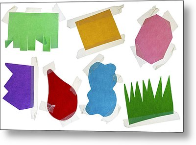 Paper Multi-colored Blank Slices  For Notes Metal Print by Aleksandr Volkov