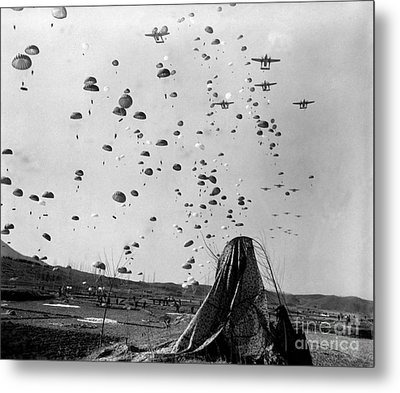 Paratroopers Jump From From C-119s Metal Print by Stocktrek Images