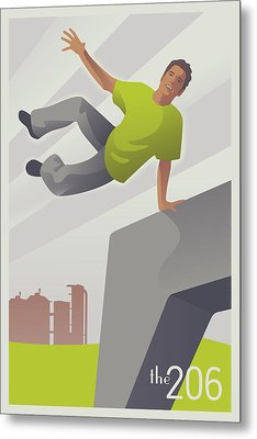 Parkour At Gasworks Park Seattle Metal Print by Mitch Frey