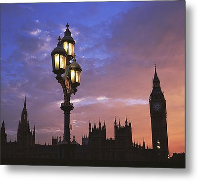 Parliament And Light At Sunset Metal Print by Axiom Photographic