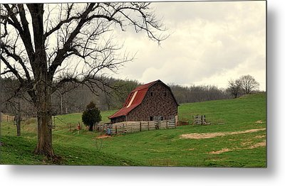Pasture And Bar  Metal Print by Marty Koch