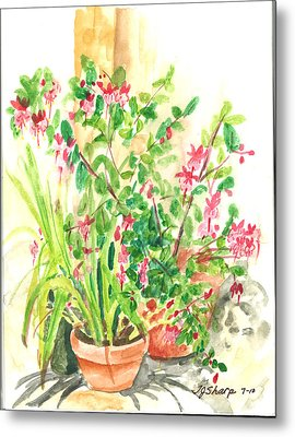 Patio Pots Metal Print by Teresa J Sharp