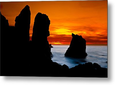 Patrick's Point Silhouette Metal Print by Greg Nyquist