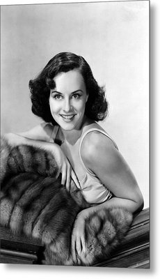 Paulette Goddard With Fur Coat Metal Print by Everett