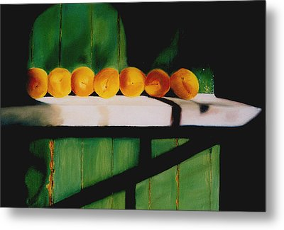 Peaches On A Ledge Metal Print by Elise Okrend