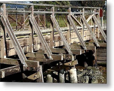 Pedestrian Bridge At Point Isabel In Richmond California . 7d15082 Metal Print by Wingsdomain Art and Photography