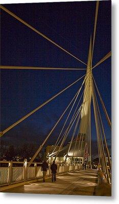 Pedestrians Cross The Modern Bridge Metal Print by Taylor S. Kennedy