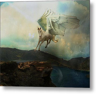 Pegasus Flying Horse Metal Print by Patricia Ridlon