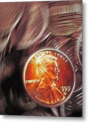 Pennies Abstract 2 Metal Print by Steve Ohlsen