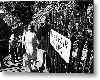 People Walking Down The Playfair Steps Down Into Princes Street Gardens Edinburgh Scotland Uk United Metal Print by Joe Fox