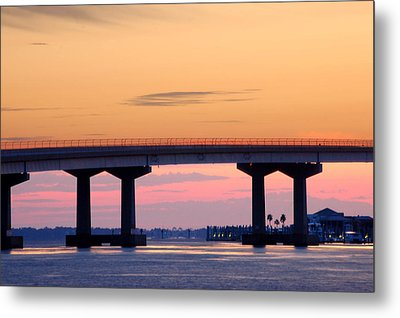 Perdido Bridge Sunrise Closeup Metal Print by Michael Thomas