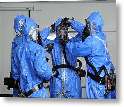 Personnel Dressed In Hazmat Suits Metal Print by Stocktrek Images