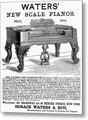 Piano Advertisement, 1874 Metal Print by Granger