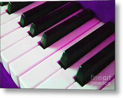 Piano Keys . V2 . Purple Metal Print by Wingsdomain Art and Photography