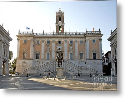 Piazza Del Campidoglio. Capitoline Hill. Rom Metal Print by Bernard Jaubert