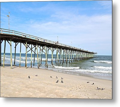 Pier At Kure Beach Metal Print by Eve Spring