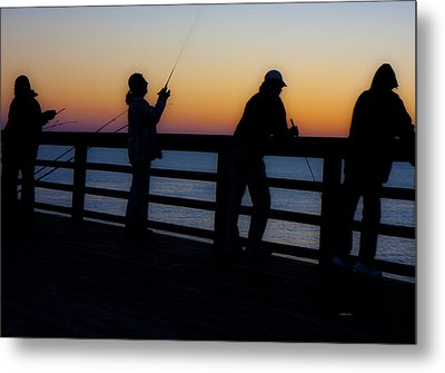 Pier Fishing At Dawn II Metal Print by Betsy Knapp